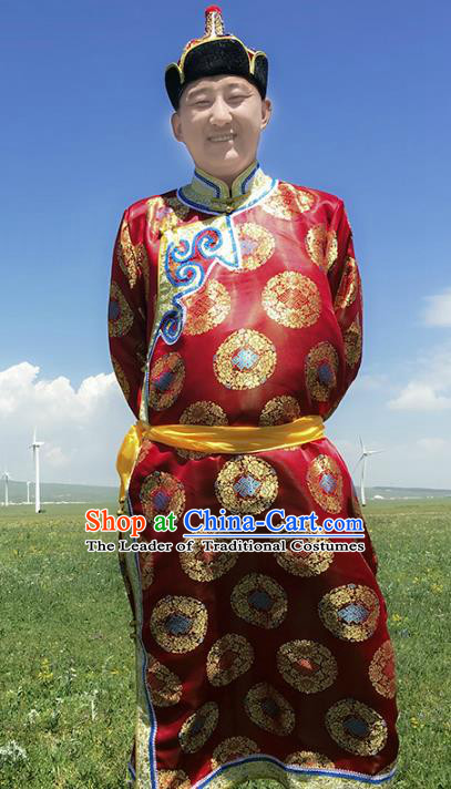 Traditional Chinese Mongol Nationality Costume Red Mongolian Robe, Mongolian Folk Dance Clothing for Men