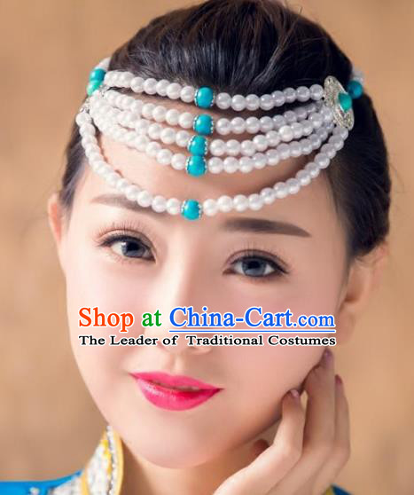 Traditional Chinese Mongol Nationality Handmade Hair Accessories, Handmade Mongolian Minority Beads Headwear for Women