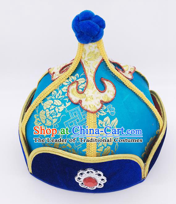 Traditional Chinese Mongol Nationality Handmade Hat, Handmade Mongolian Minority Blue Hats Headwear for Kids
