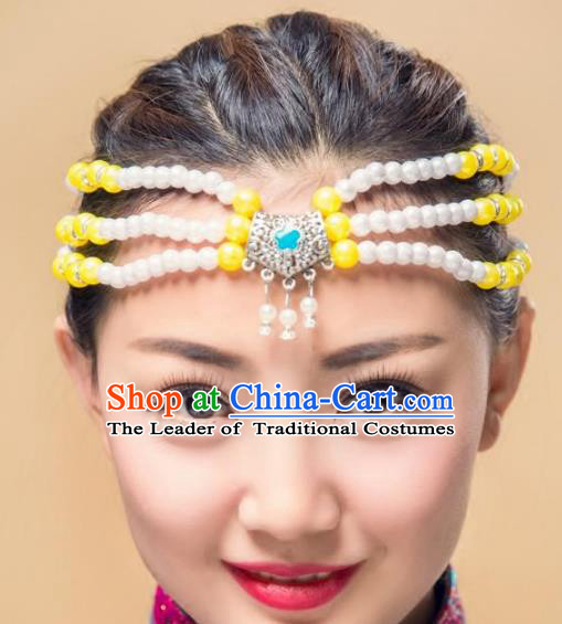 Traditional Chinese Mongol Nationality Handmade Hair Accessories, Mongolian Minority Yellow Beads Headwear for Women