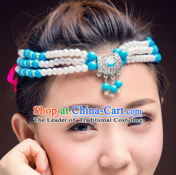Traditional Chinese Mongol Nationality Handmade Hair Accessories, Mongolian Minority Blue Beads Headwear for Women