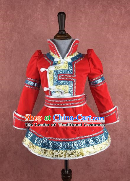 Traditional Chinese Mongol Nationality Costume Children Red Dress, Mongolian Folk Dance Clothing for Kids