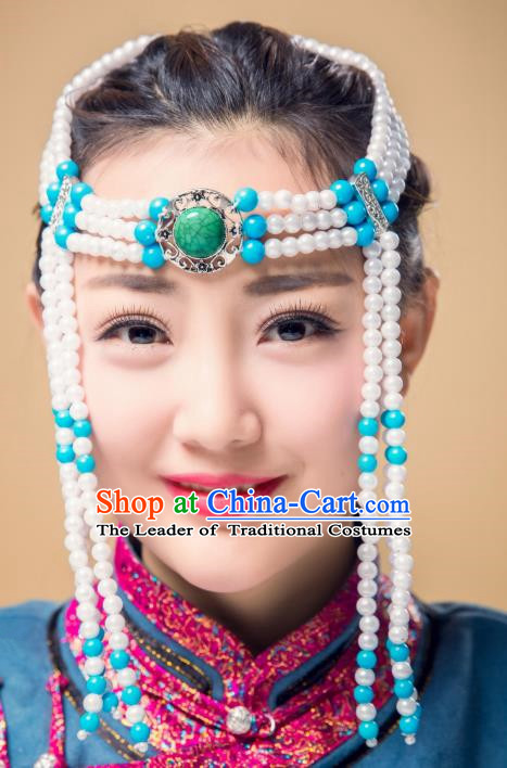 Traditional Chinese Mongol Nationality White Beads Hair Accessories, Mongolian Minority Dance Hair Clasp for Women