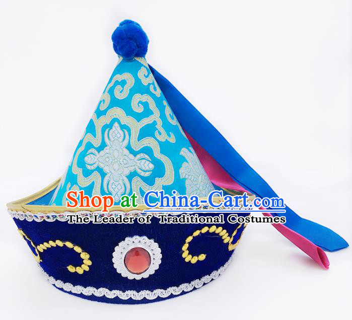 Traditional Chinese Mongol Nationality Hat Hair Accessories, Handmade Mongolian Minority Blue Hats Headwear for Kids