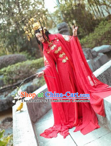 Chinese Ancient Princess Wedding Costume Northern and Southern Dynasties Nobility Lady Red Hanfu Dress for Women