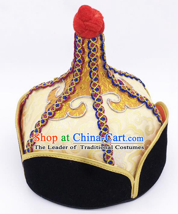 Traditional Chinese Mongol Nationality Yellow Hat Hair Accessories, Handmade Mongolian Minority Prince Hats Headwear for Men