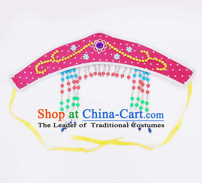 Traditional Chinese Mongol Nationality Pink Headband, Mongolian Minority Hair Accessories Dance Headwear for Kids