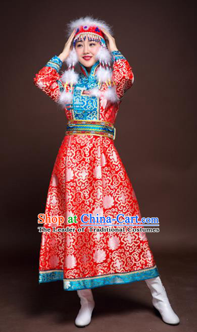 Chinese Mongol Nationality Ethnic Dance Costume, Traditional Mongolian Folk Dance Clothing Red Mongolian Robe for Women