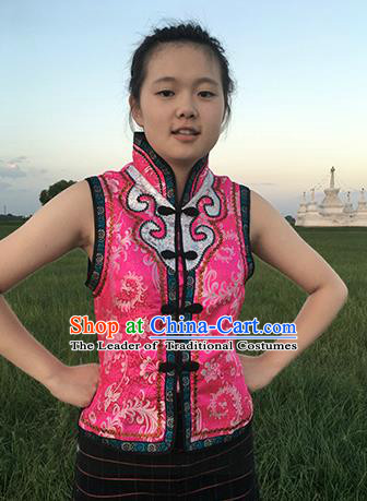 Chinese Mongol Nationality Ethnic Costume Pink Vests, Traditional Mongolian Folk Dance Waistcoat for Women