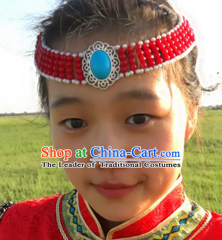 Traditional Chinese Mongol Nationality Princess Red Beads Hair Accessories, Mongolian Minority Hair Jewelry Dance Headwear for Women