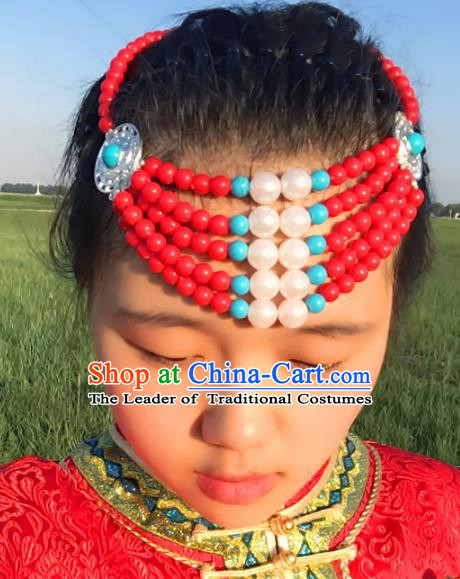 Traditional Chinese Mongol Nationality Princess Hair Accessories, Mongolian Minority Red Beads Hair Jewelry Dance Headwear for Women