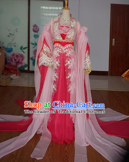 Chinese Ancient Cosplay Fairy Princess Costume Tang Dynasty Swordswoman Pink Hanfu Dress for Women