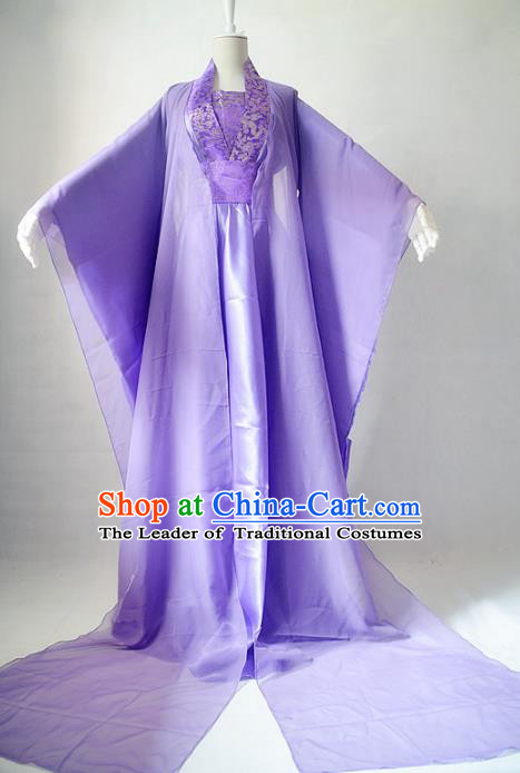 Chinese Ancient Cosplay Fairy Princess Costume Tang Dynasty Imperial Consort Purple Hanfu Dress for Women