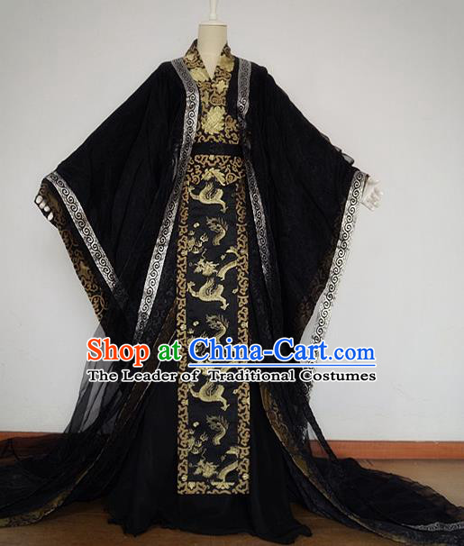 Chinese Ancient Cosplay Emperor Black Costume Jin Dynasty King Swordsman Clothing for Men