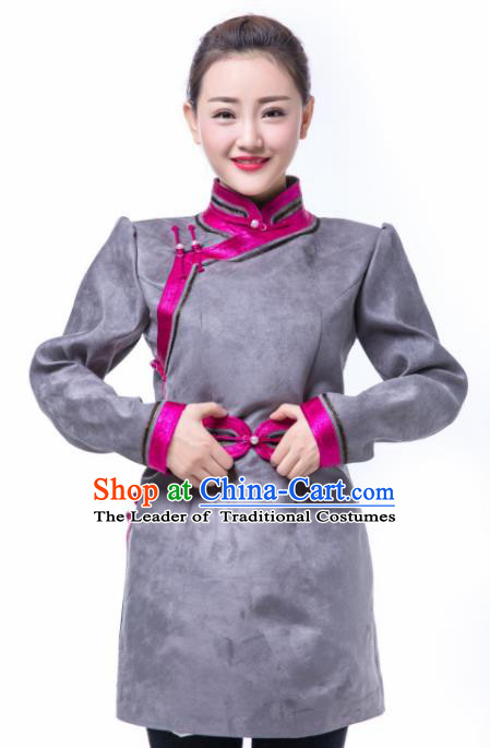 Chinese Traditional Female Grey Suede Fabric Ethnic Costume, China Mongolian Minority Folk Dance Clothing for Women
