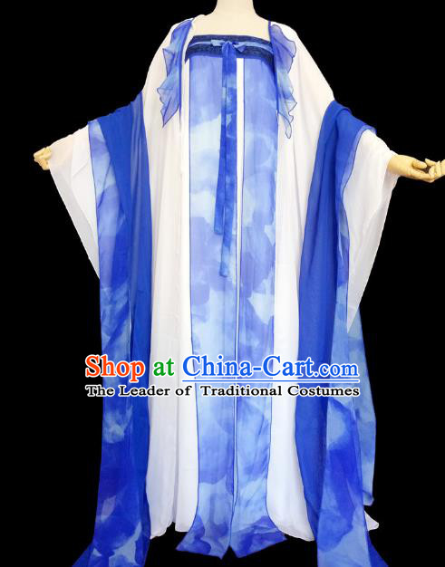 Chinese Ancient Cosplay Palace Lady Costume Traditional Tang Dynasty Princess Blue Hanfu Dress for Women