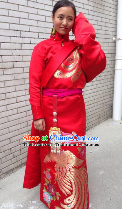 Chinese Traditional Minority Dance Costume Zang Nationality Clothing Red Tibetan Robe for Women