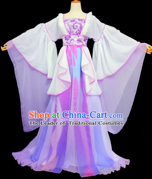 Chinese Ancient Cosplay Princess Costume Traditional Tang Dynasty Female Knight Purple Hanfu Dress for Women