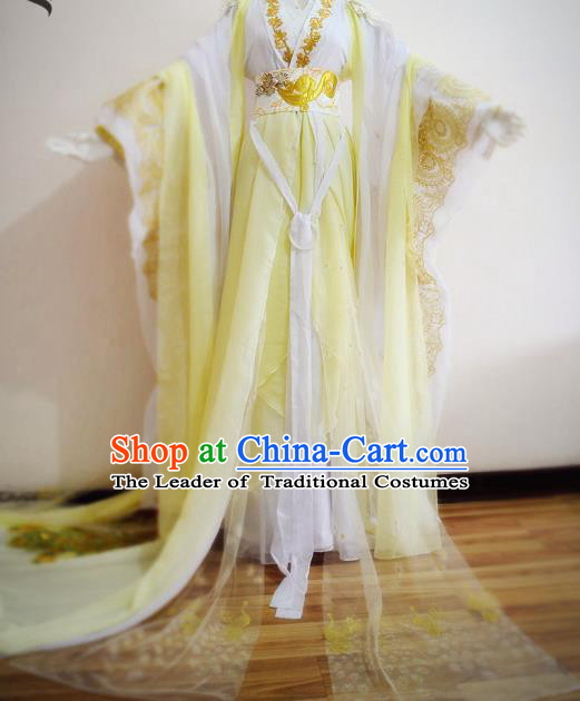 Chinese Ancient Cosplay Princess Yellow Hanfu Dress Traditional Tang Dynasty Queen Embroidered Costume for Women