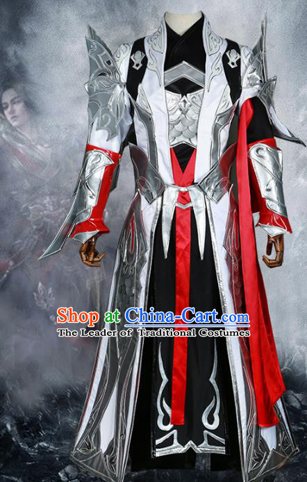 Chinese Ancient Cosplay Warrior Costume Nobility Childe Swordsman Body Armour Clothing for Men