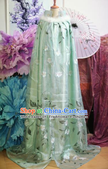 Chinese Traditional Ancient Nobility Lady Clothing Song Dynasty Princess Green Cloak for Women