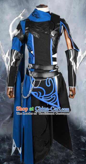 Chinese Ancient Warrior Costume Body Armor Cosplay Swordsman Clothing for Men
