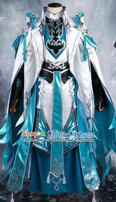 Chinese Ancient Nobility Childe Warrior Costume Cosplay Swordsman Blue Clothing for Men