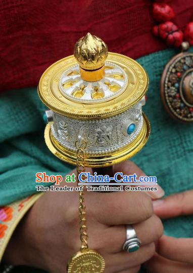 Chinese Zang Nationality Handmade Accessories Prayer Wheel Tibetan Minority Sutra-Canisters