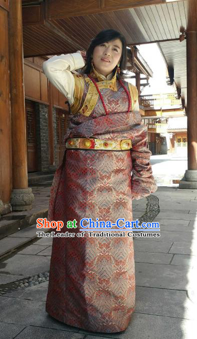 Chinese Traditional Minority Wedding Costume Tibetan Red Brocade Zang Nationality Clothing for Women