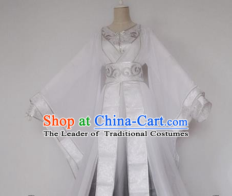 Chinese Han Dynasty White Hanfu Dress Ancient Fairy Traditional Costume for Women