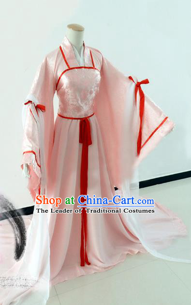 Chinese Song Dynasty Princess Pink Hanfu Dress Ancient Fairy Traditional Costume for Women
