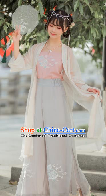 Chinese Traditional Song Dynasty Young Lady Costume Ancient Nobility Lady Embroidered Clothing for Women