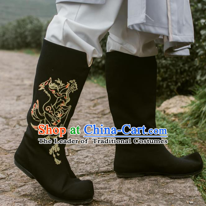 Chinese Traditional Black Cloth Shoes Ancient Swordsman Hanfu Embroidered Boots for Men