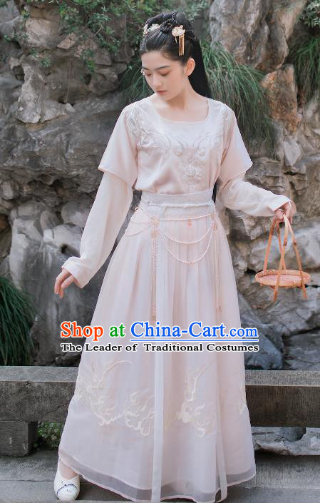Chinese Traditional Tang Dynasty Palace Lady Costumes Ancient Court Maid Embroidered Clothing for Women