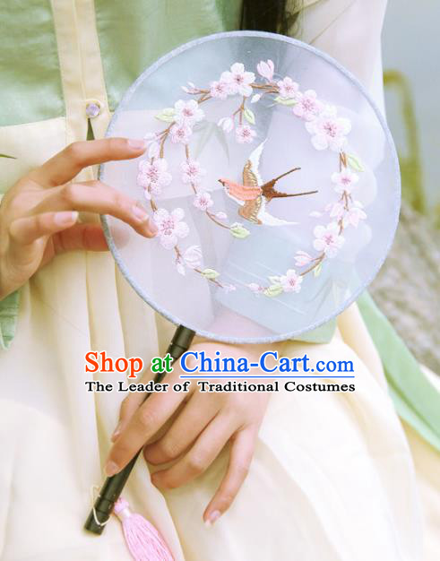 Chinese Ancient Handmade Palace Fans Hanfu Embroidered Round Fans for Women