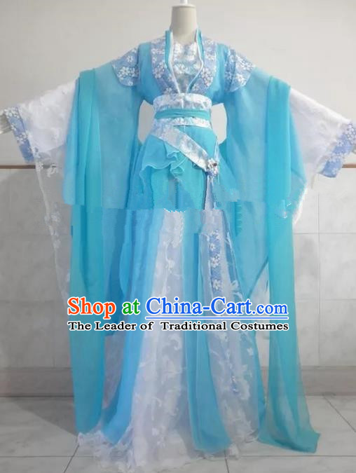 Chinese Song Dynasty Princess Blue Hanfu Dress Ancient Fairy Traditional Clothing for Women