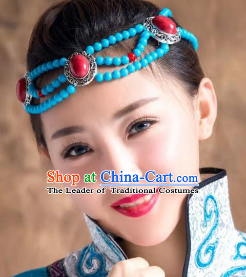 Chinese Traditional Mongol Ethnic Hair Accessories, Mongolian Minority Folk Dance Headwear for Women