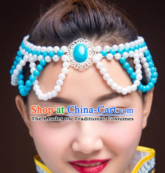 Chinese Traditional Mongol Ethnic Hair Accessories, Mongolian Minority Folk Dance Blue Beads Tassel Headwear for Women