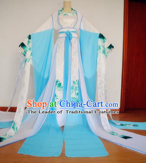 Chinese Han Dynasty Princess Printing Lotus Hanfu Dress Ancient Fairy Traditional Costume for Women