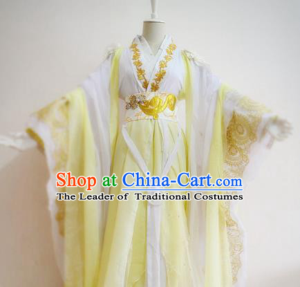Chinese Han Dynasty Empress Yellow Hanfu Dress Ancient Fairy Traditional Clothing for Women