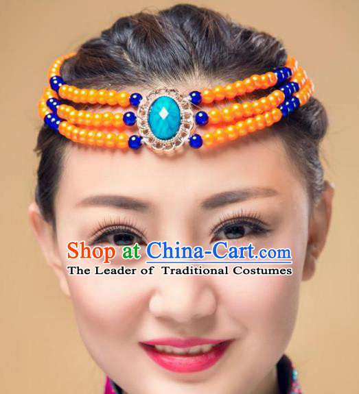 Chinese Traditional Mongol Stage Performance Hair Accessories, Mongolian Minority Folk Dance Orange Beads Headwear for Women
