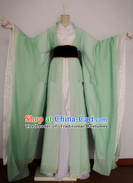 Chinese Han Dynasty Swordswoman Green Hanfu Dress Ancient Fairy Traditional Clothing for Women
