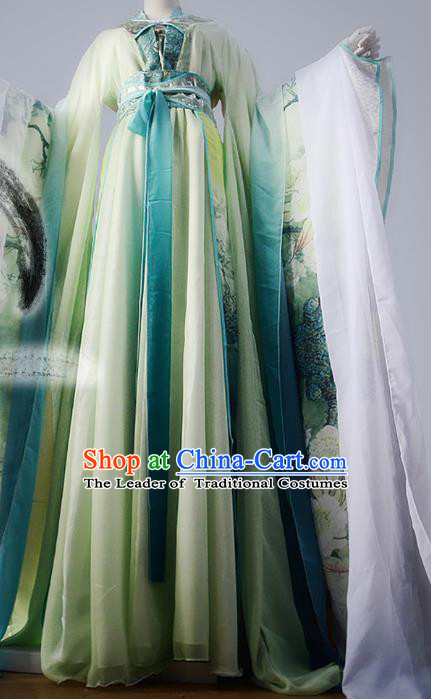 Chinese Han Dynasty Princess Green Hanfu Dress Ancient Fairy Traditional Costume for Women