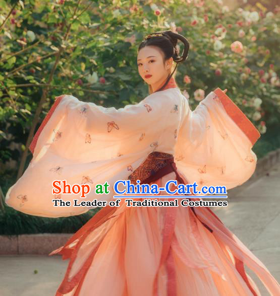 Chinese Ancient Palace Bayadere Costumes Traditional Han Dynasty Imperial Consort Embroidered Hanfu Dress for Women