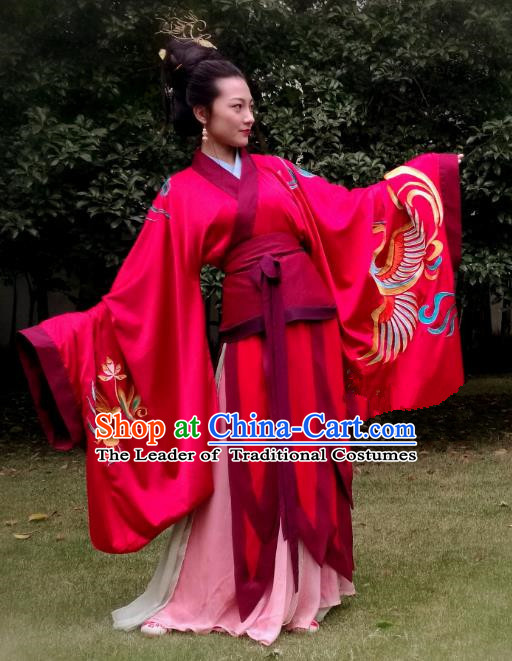 Chinese Ancient Palace Queen Costumes Traditional Han Dynasty Imperial Empress Embroidered Hanfu Dress for Women