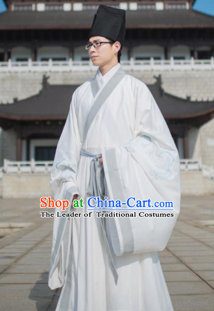 Chinese Ancient Taoist Priest Costume Traditional Ming Dynasty Scholar Embroidered Hanfu Clothing for Men