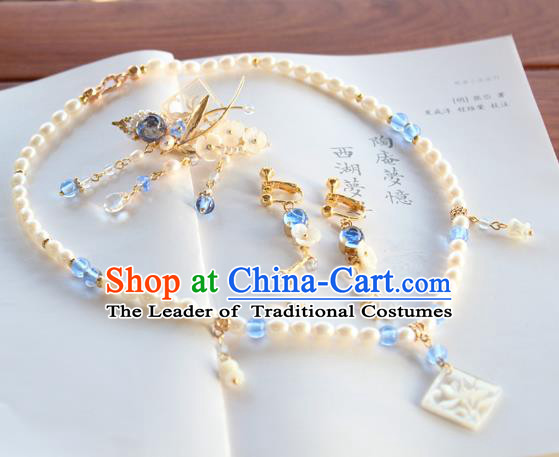 Chinese Ancient Handmade Necklace Earrings Accessories Hanfu Hair Claw for Women