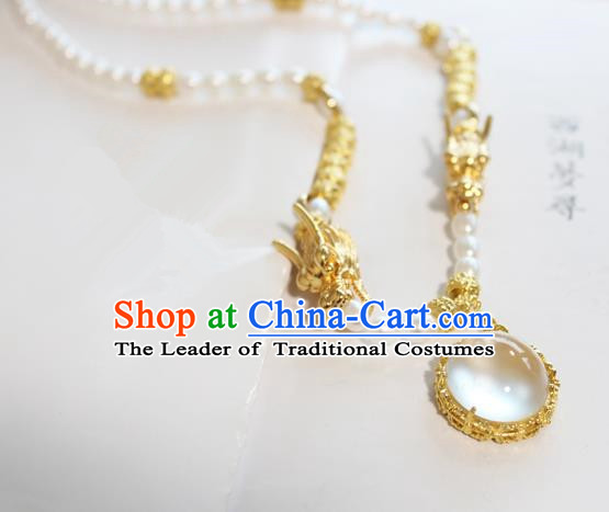 Chinese Ancient Handmade Dragon Necklace Accessories Hanfu Pearls Necklet for Women