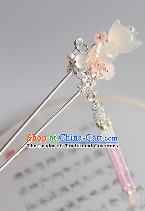 Chinese Ancient Handmade Palace Jade Fox Hair Clip Hair Accessories Hanfu Hairpins for Women
