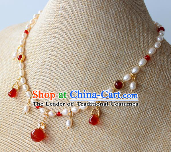 Chinese Ancient Handmade Red Agate Necklace Accessories Hanfu Pearls Necklet for Women